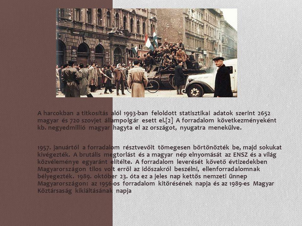 A harcokban a titkosítás alól 1993-ban feloldott statisztikai adatok szerint 2652 magyar és 720 szovjet állampolgár esett el.[2] A forradalom következményeként kb. negyedmillió magyar hagyta el az országot, nyugatra menekülve.